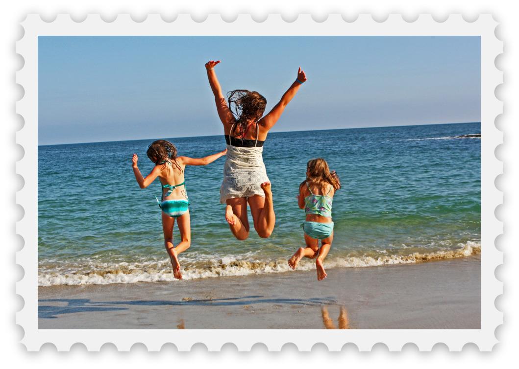 Girls at beach small picnic