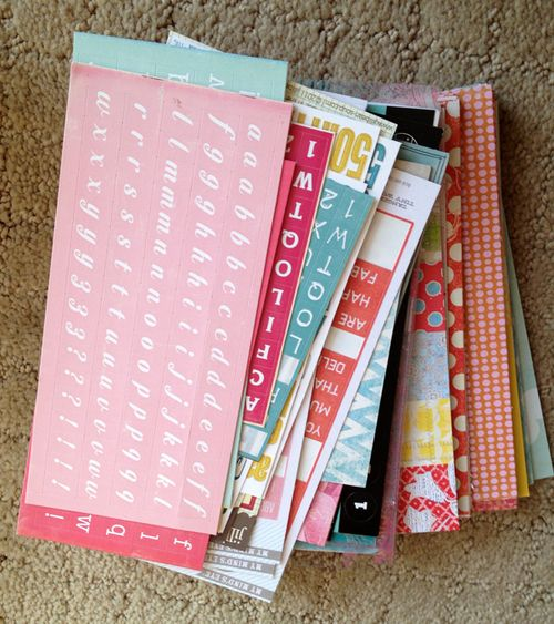 4x6 scraps and letter stickers