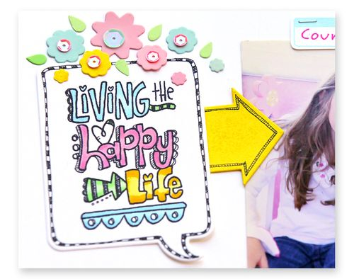 Living the happy life layout close up 1