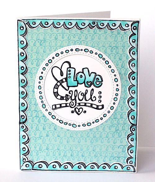 Aqua love you card