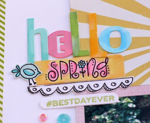 Hello spring layout closeup 1