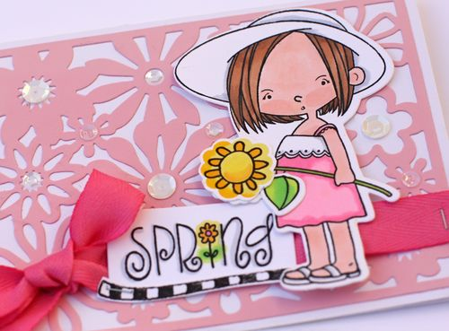 Spring card close up