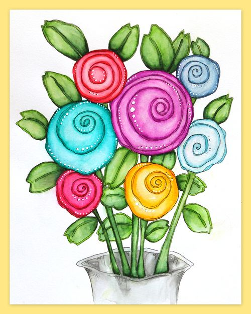 Funky flower painting