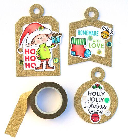 Gold christmas tags