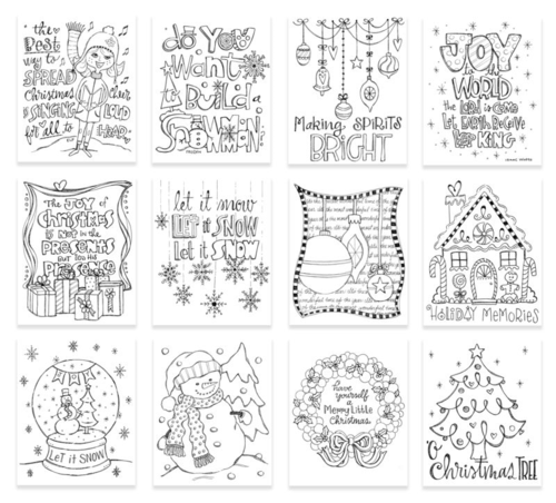 Suzy's holiday doodle watercolor cards