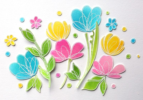 Flowers embossed and colored with distress inks