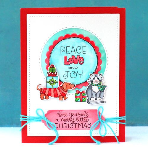 Holiday stamps card one