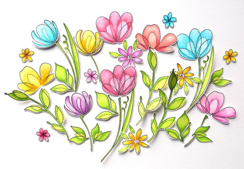 Flowers colored with copics