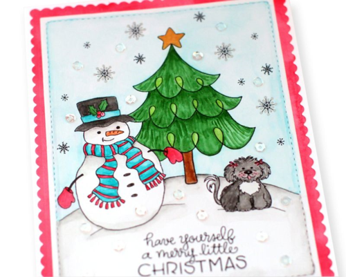 Holiday stamps card two close up